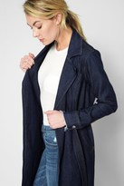7 For All Mankind Denim Trench Coat In Luxe Lounge Deep Blue