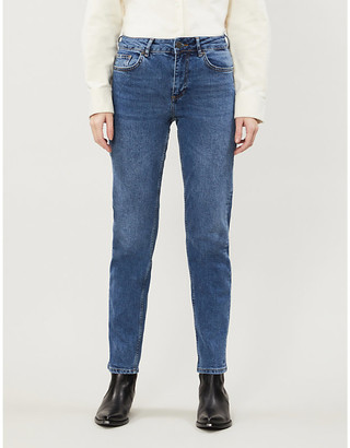 Noisy May Jenna mid-rise straight stretch-denim jeans