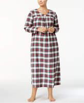 Charter Club Plus Size Printed Flannel Cotton Nightgown, Created for Macy's