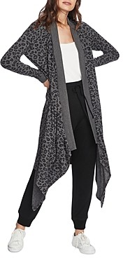1 STATE Leopard Drape Front Duster Cardigan