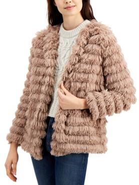 Sage The Label Fringe Faux-Fur Open-Front Jacket