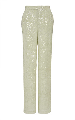 Sally LaPointe Sequined Crepe Straight-Leg Pants