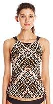 Jantzen Women's Animal Hi Neck Over The Shoulder Tankini
