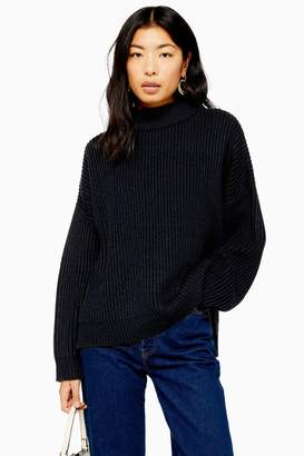 Topshop Womens Navy Knitted Funnel Neck Jumper - Navy Blue