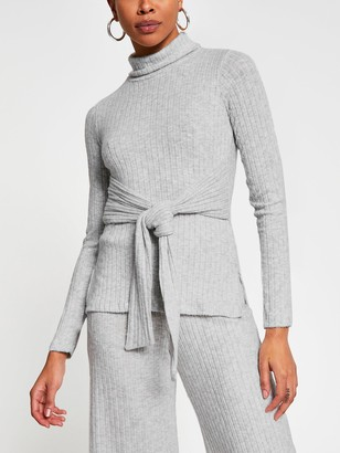 River Island Longline Belted Roll Neck Cosy Top Co-ord - Grey