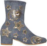Chiara Ferragni 40mm Sequin Stars Denim Ankle Boots