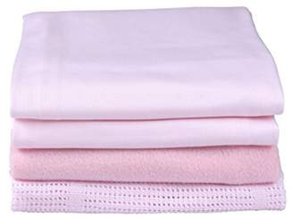Clair De Lune Cot Bed Sheets Bedding Bale Gift Set, Pink, 4 Piece