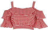 River Island Womens Red gingham frill sleeve crop top