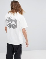Stussy Pigment Dyed T-shirt With Dice Back Print In White