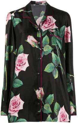 Dolce & Gabbana Tropical rose print shirt