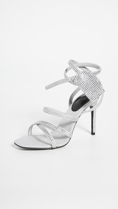 Off-White Off White Crystal Satin Zip Tie Sandals