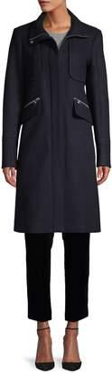 Karl Lagerfeld Paris Front-Zip Coat