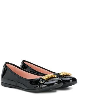 MOSCHINO BAMBINO TEEN logo ballerina shoes