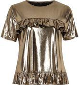 River Island Womens Gold metallic frill front T-shirt