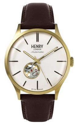 Henry London Mens Skeleton Automatic Watch with Leather Strap HL42-AS-0280