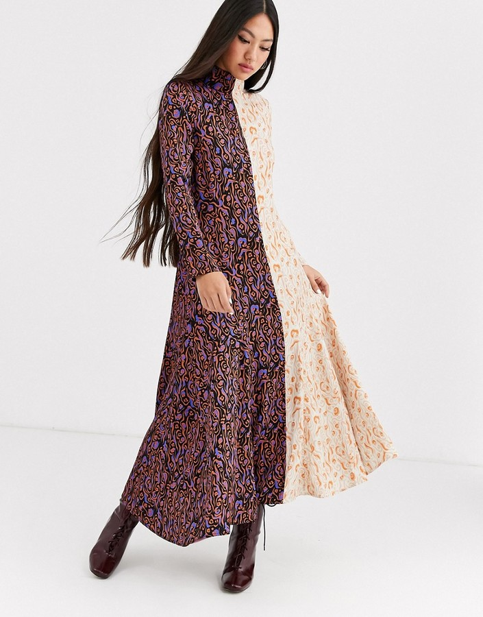 ASOS mixed print long sleeve midi dress
