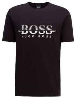 BOSS Logo-print T-shirt in stretch-cotton interlock jersey