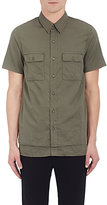 John Elliott JOHN ELLIOTT MEN'S LAYERED COTTON MILITARY SHIRT-GREEN SIZE M