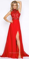 Mac Duggal Exposed Back Embellished Lace Applique A-line Evening Gown