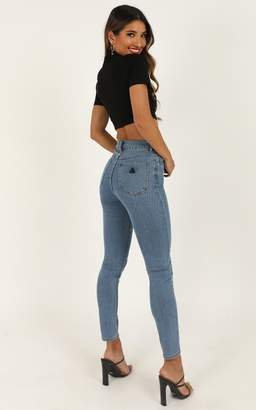 Showpo Abrand - A High Skinny Ankle Basher Jeans in la blues - 6 (XS)