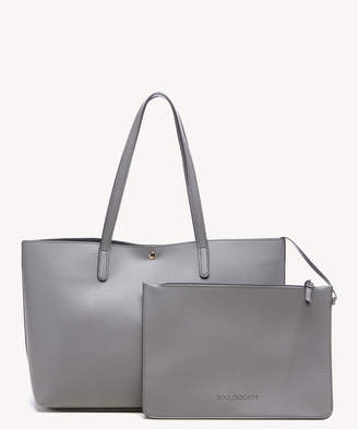 Sole Society Women's Zeda Tote Vegan Charcoal Vegan Leather From