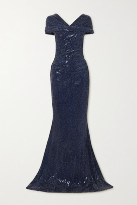Talbot Runhof Gathered Sequined Metallic Stretch-crepe Gown - Navy