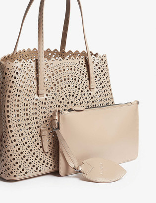 Azzedine Alaia Mina small laser-cut leather tote bag