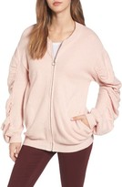BP Women's Knit Ruched Sleeve Bomber