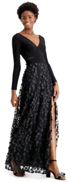 Xscape Evenings Mesh-Cutout Flower Gown