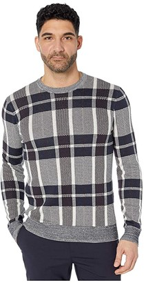 Perry Ellis Plaid Texture Crew Sweater (Cream) Men's Clothing