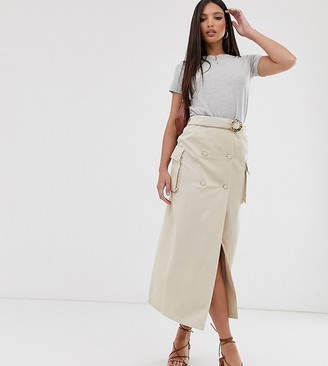 Asos Tall DESIGN Tall denim double breasted midi skirt with buckle in stone