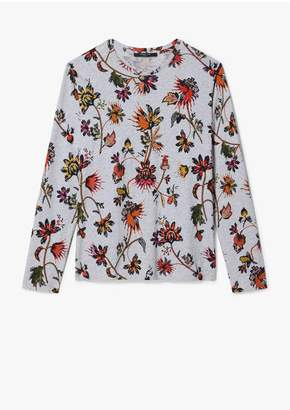 Derek Lam Indian Floral Long Sleeve Oversize Printed Tee