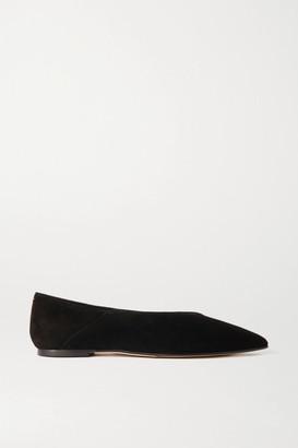 AEYDĒ Moa Suede Point-toe Flats - Black