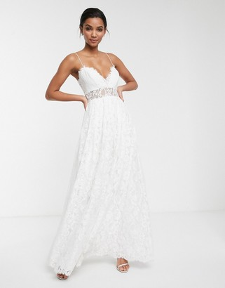 Asos Edition EDITION lace cami wedding dress with full skirt-White