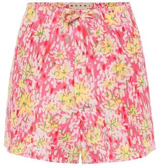 Marni Floral silk-crepe shorts