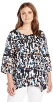 NY Collection Women's Plus Size Printed 3/4 Angle Scoop Neck Top with Crochet At Front Yoke and Sleeve