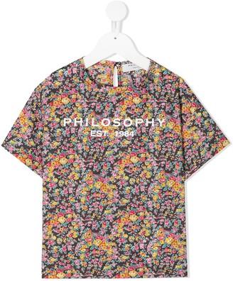 Philosophy Di Lorenzo Serafini Kids logo floral-print T-shirt