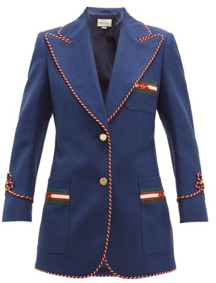 Gucci Passementerie Trim Single Breasted Slubbed Blazer - Womens - Blue Multi