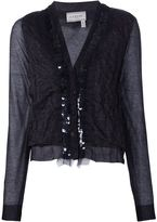 Lanvin sheer panel cardigan - women - Cotton/Polyamide - M