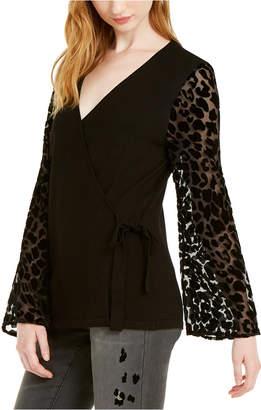 INC International Concepts Inc Leopard-Print Velvet Burnout Sweater