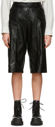 Áeron SSENSE Exclusive Black Faux-Leather Helen Shorts