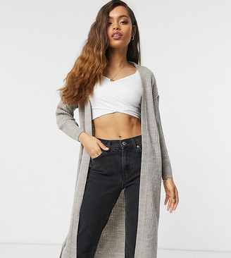 New Look Petite rib knitted co-ord maxi cardi in stone