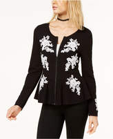 INC International Concepts Embroidered Peplum Cardigan, Created for Macy's
