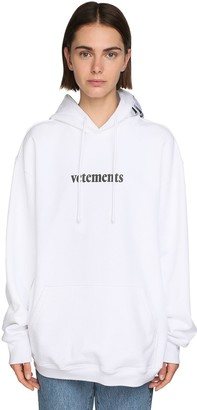Vetements Oversize Logo Print Cotton Jersey Hoodie