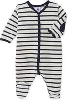 Petit Bateau Unisex babys striped velour sleeper
