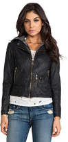 Doma Vintage Zip Out Hood Leather Jacket