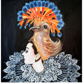 Ashley Longshore Audrey and Bird Hat Painting