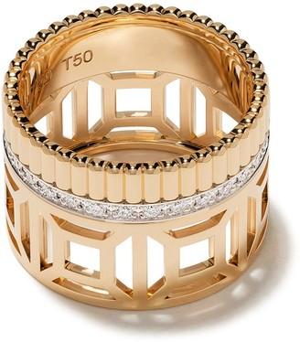 Boucheron 18kt yellow gold Quatre Radiant Edition openwork diamond band