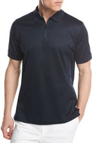 Brioni Cotton Zip Polo Shirt, Midnight Blue