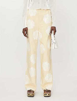 Acne Studios Floral-print straight-leg high-rise cotton trousers